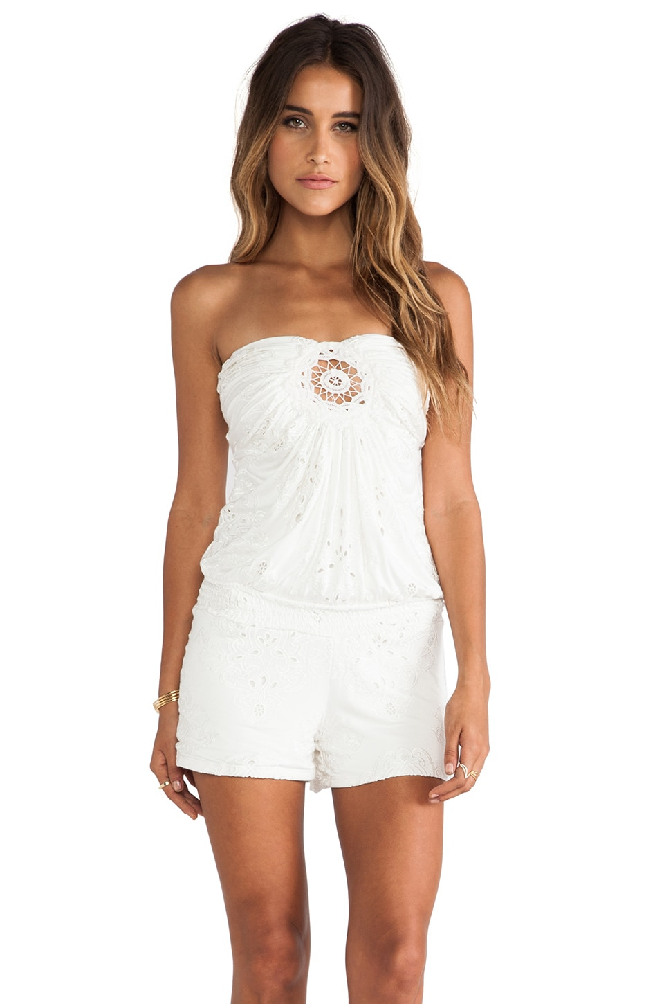 sky Neneca Romper in Bone and White