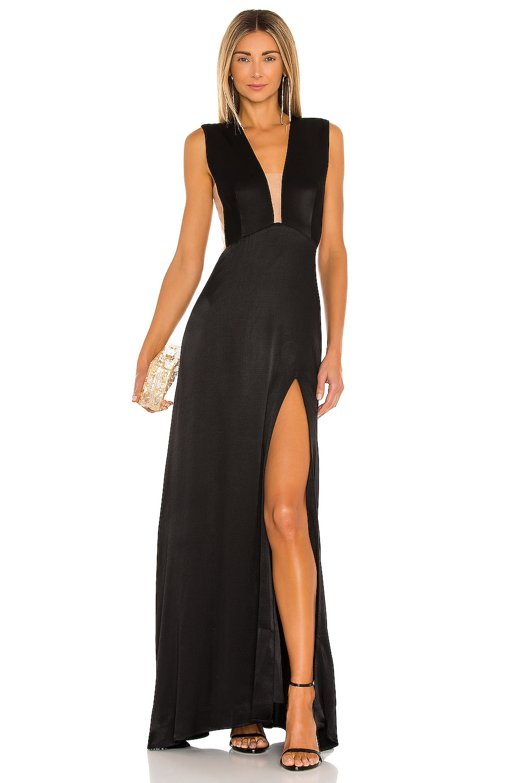 SAU LEE Genevie Satin Gown in Black