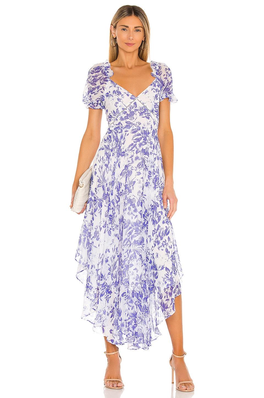 SAU LEE Georgia Dress in Blue & White