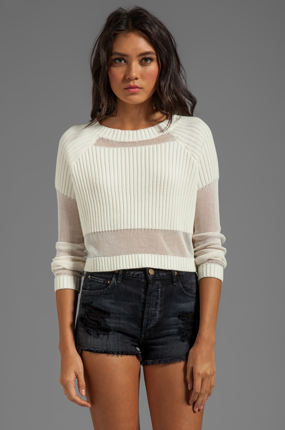 Somedays Lovin Parallels Block Knit Crop Sweater in White