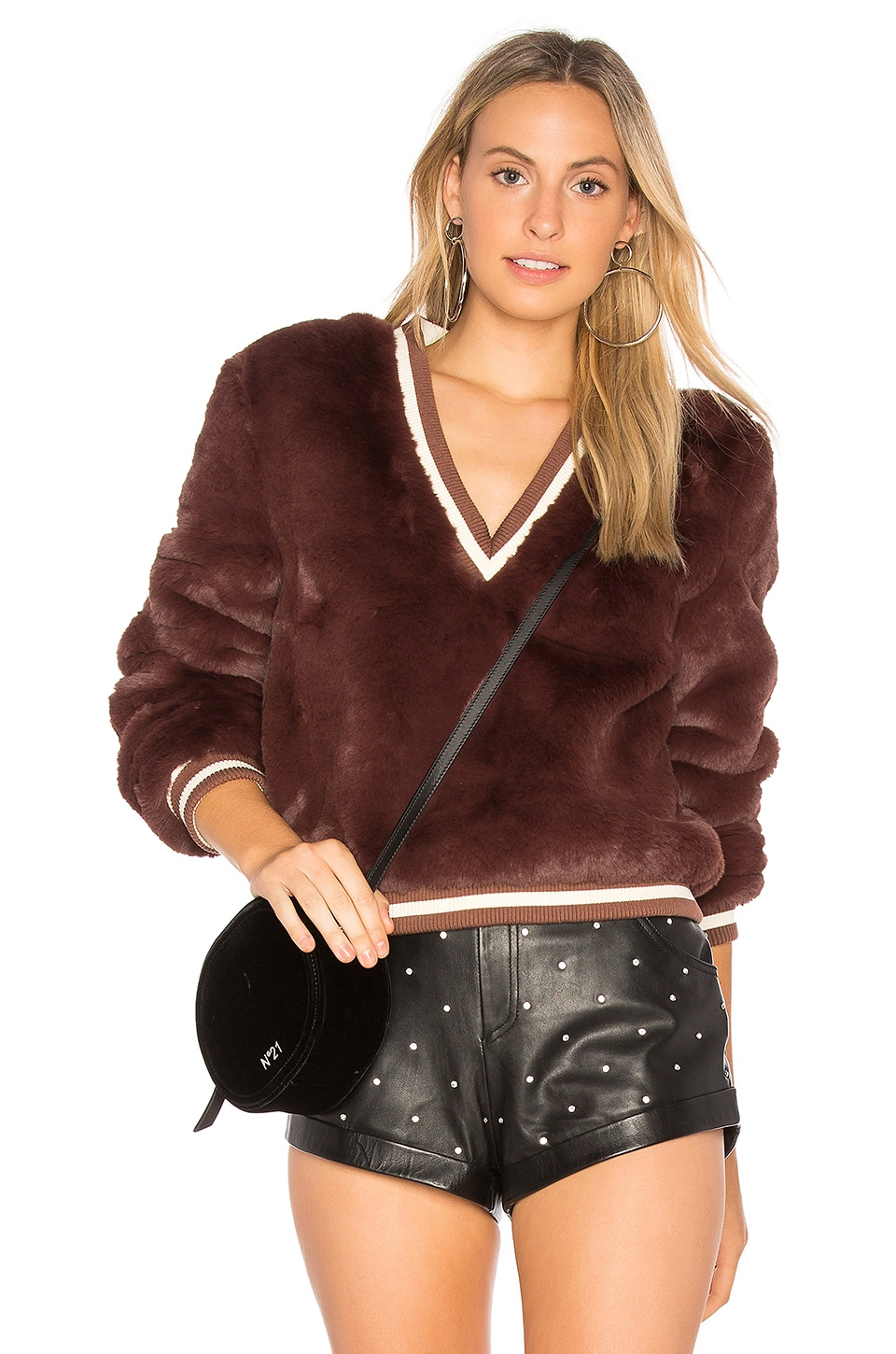 Somedays Lovin Heavy Hearts Fur Sweater in Chocolate