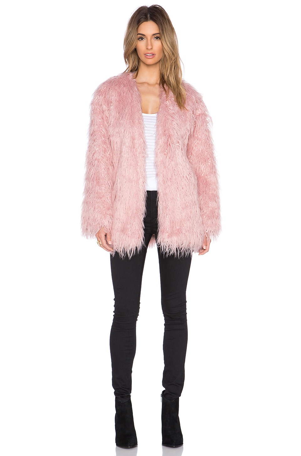 Somedays Lovin Sacred Faux Fur Coat in Pink