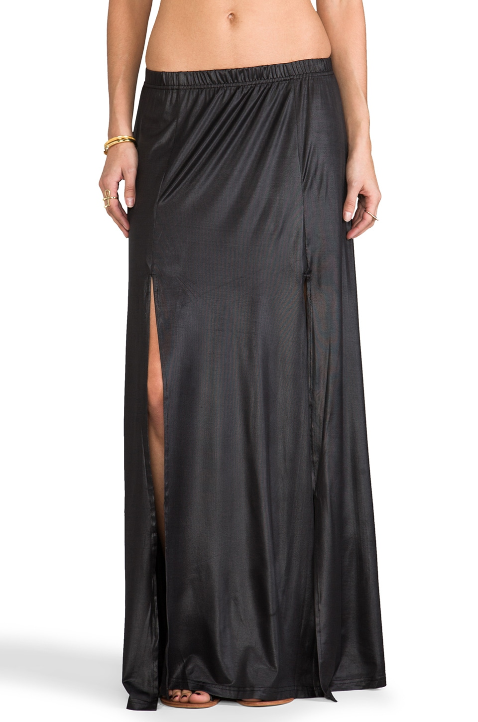 Somedays Lovin Salt Double Split Maxi Skirt in Black