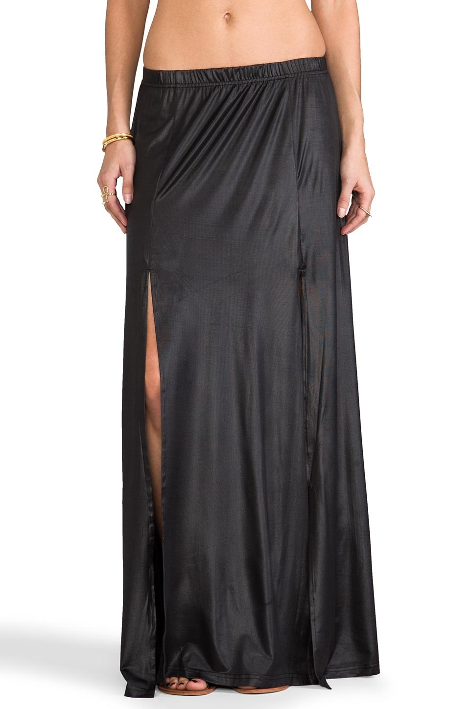 Somedays Lovin Salt Double Split Maxi Skirt in Black