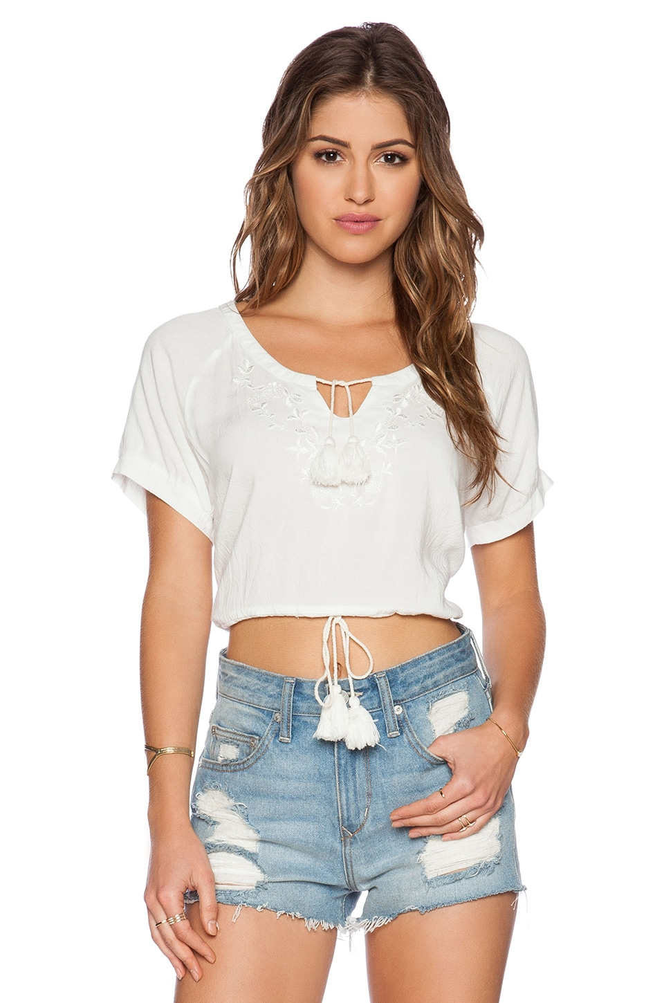 Somedays Lovin Stone Flower Embroidered Top in White