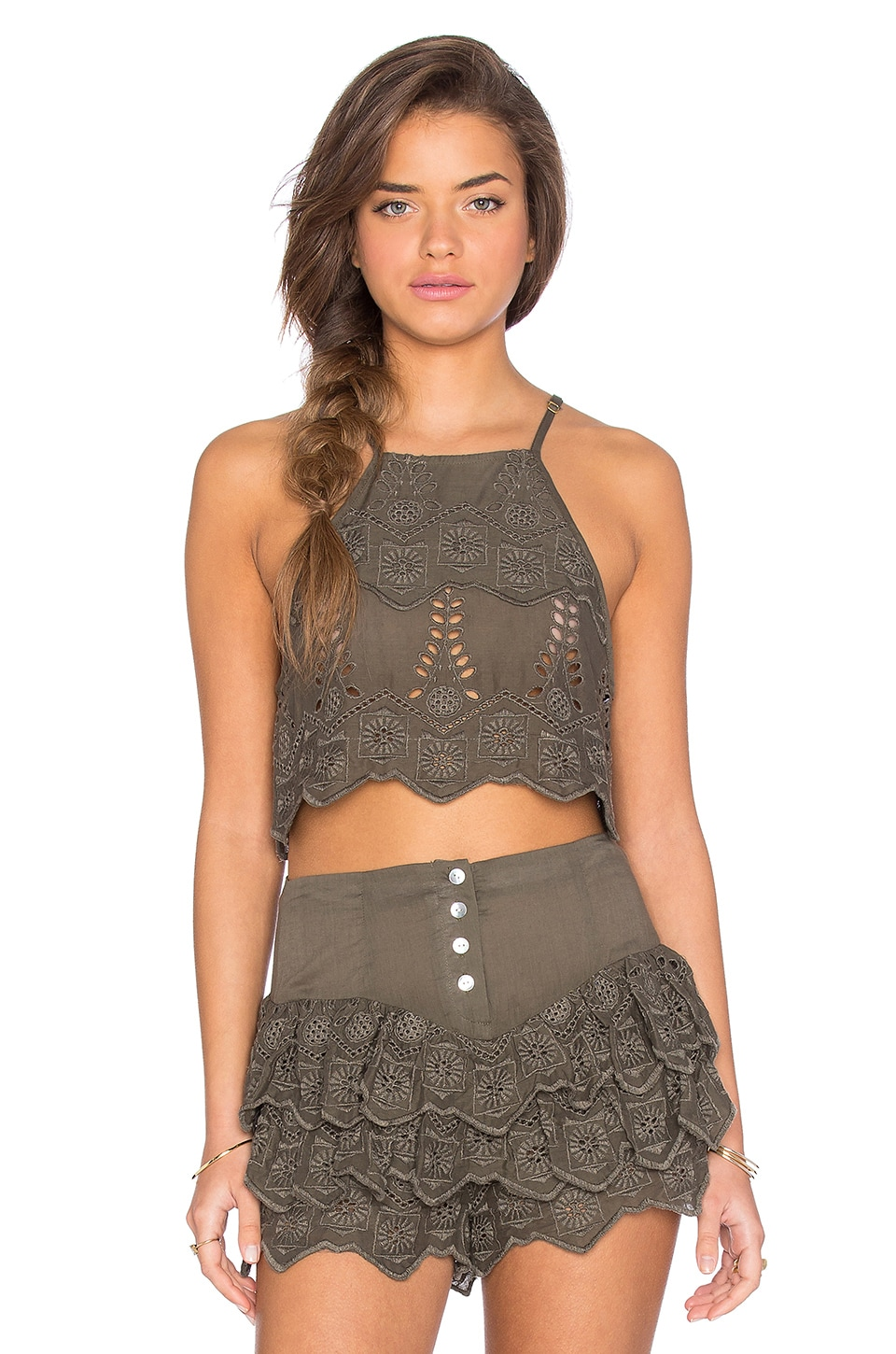 Somedays Lovin Serenade Lace Crop Top in Khaki
