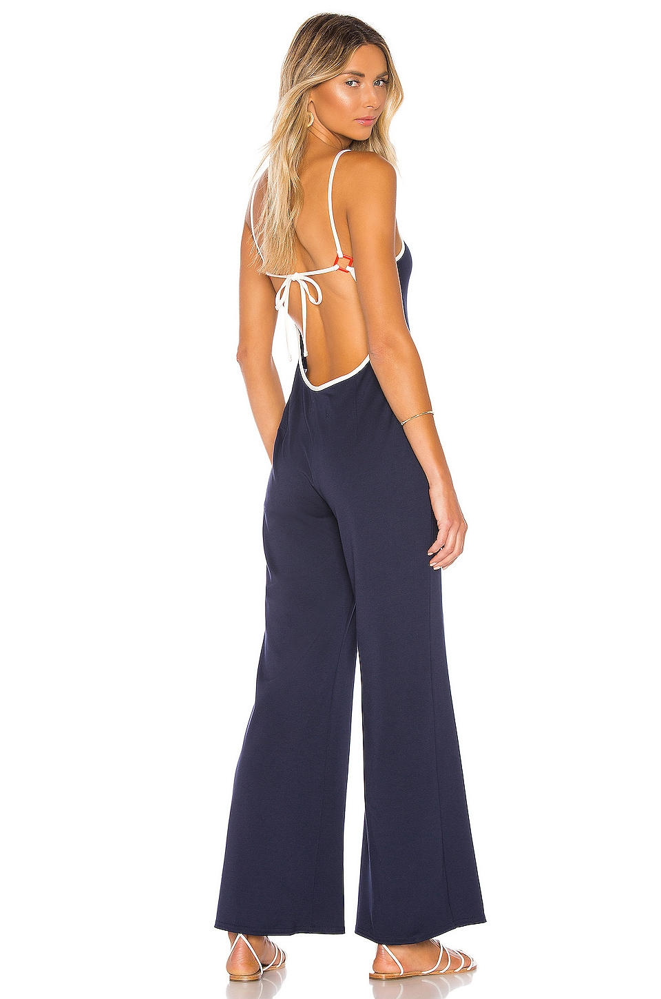 Solid & Striped Wrap Apron Jumpsuit in Deep Navy