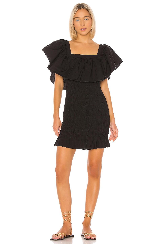 Solid & Striped Smocked Ruffle Dress in Black Poplin