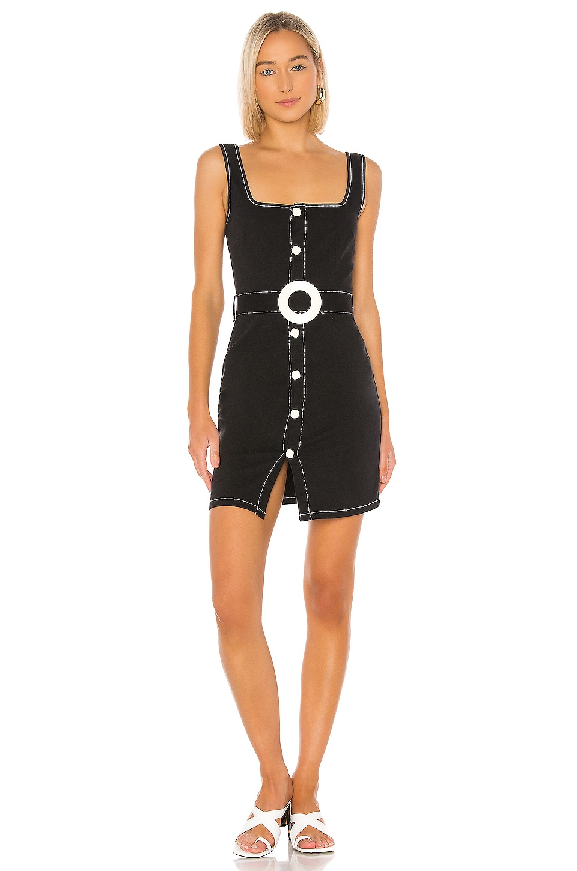 Solid & Striped Button Up Belt Dress in Black Denim