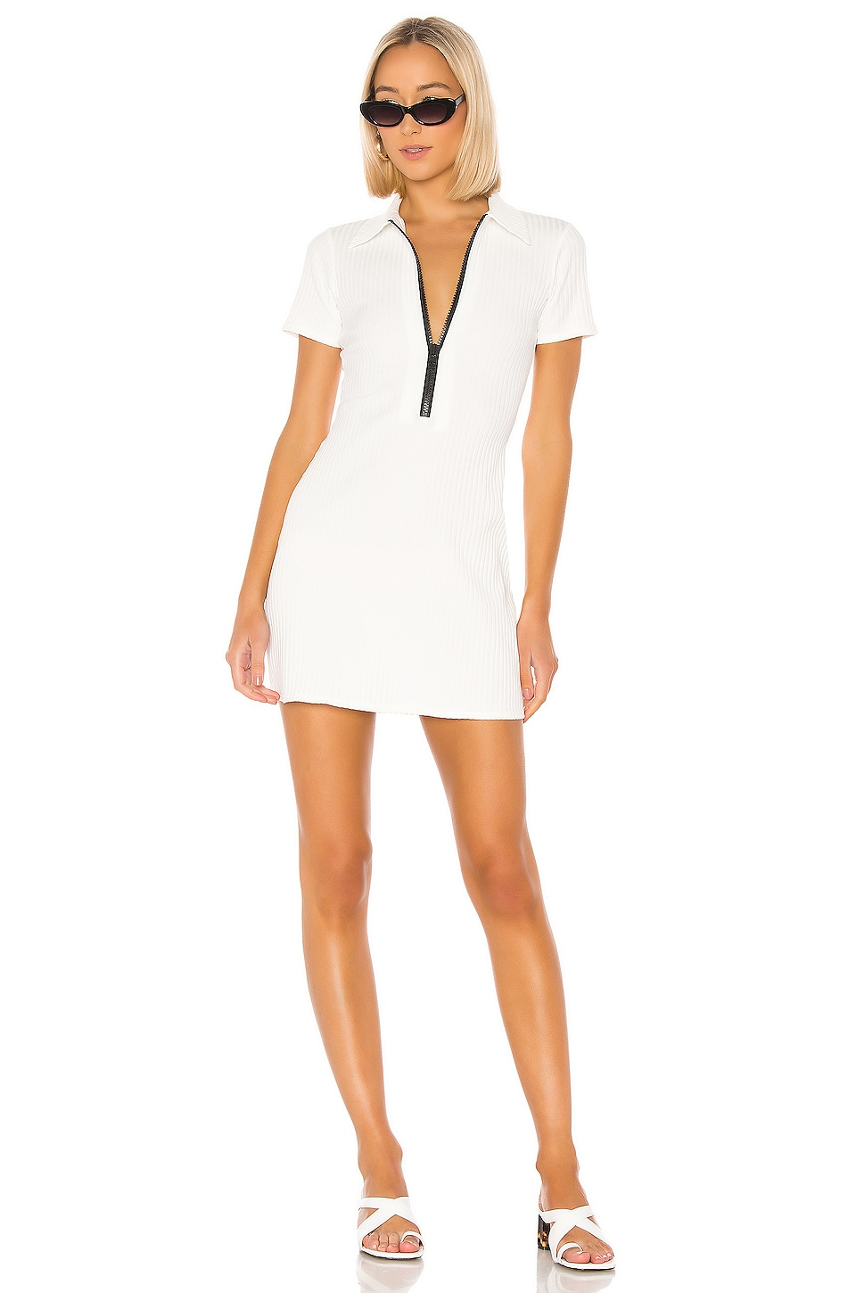Solid & Striped Polo Zip Dress in White Rib