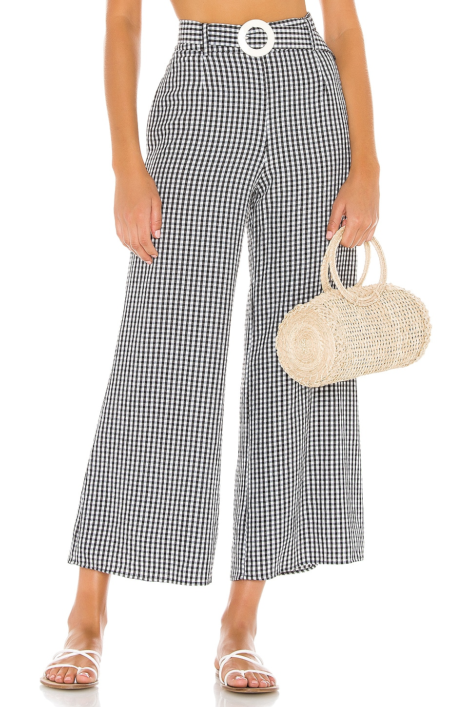 Solid & Striped Palazzo Pant in Black Gingham
