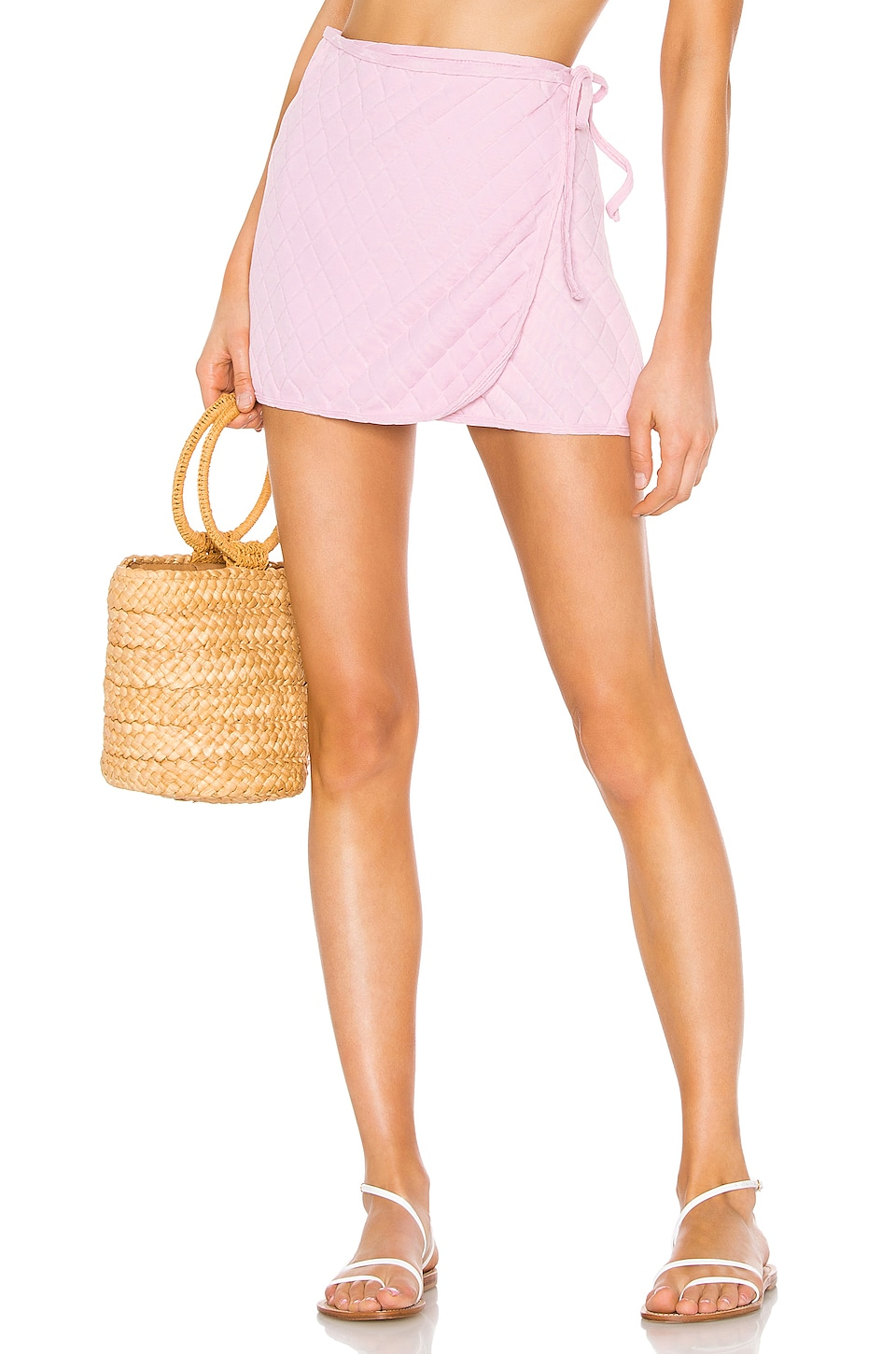 Solid & Striped Wrap Skirt in Light Pink Quilted
