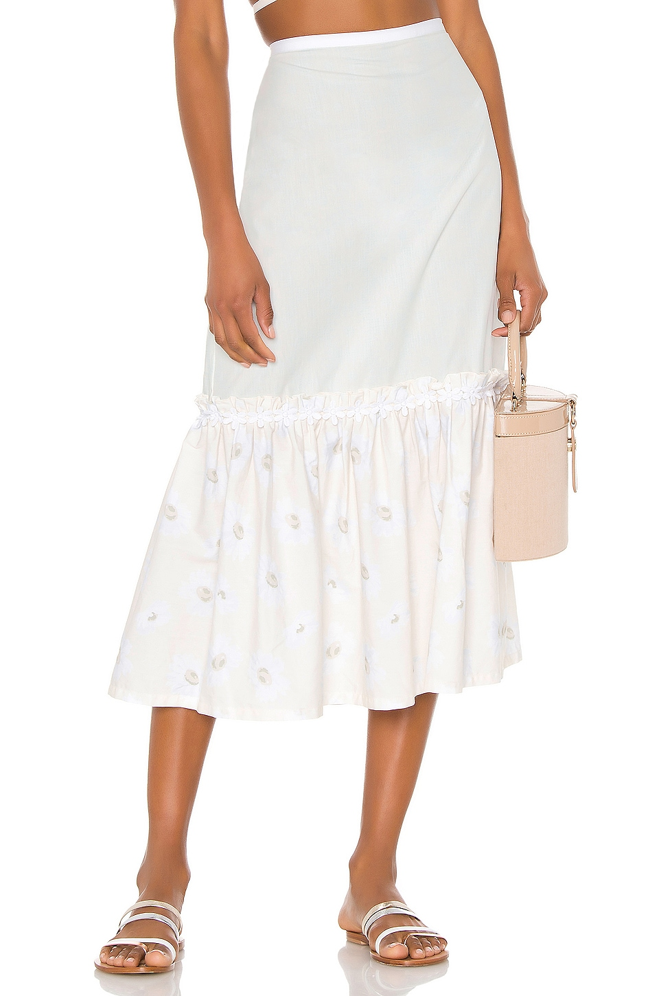 Solid & Striped Peasant Skirt in White Daisy Print Poplin Combo