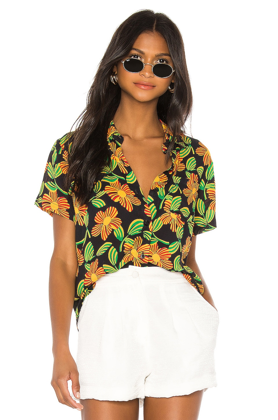 Solid & Striped Short Sleeve Button Shirt in Groovy Floral