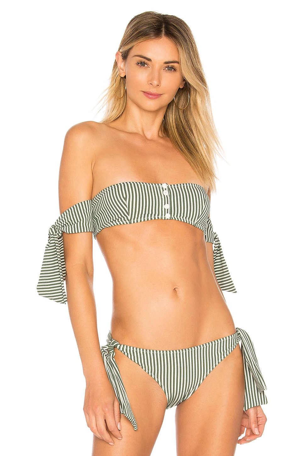 Solid & Striped The Mackenzie Bikini Top in Green Seersucker