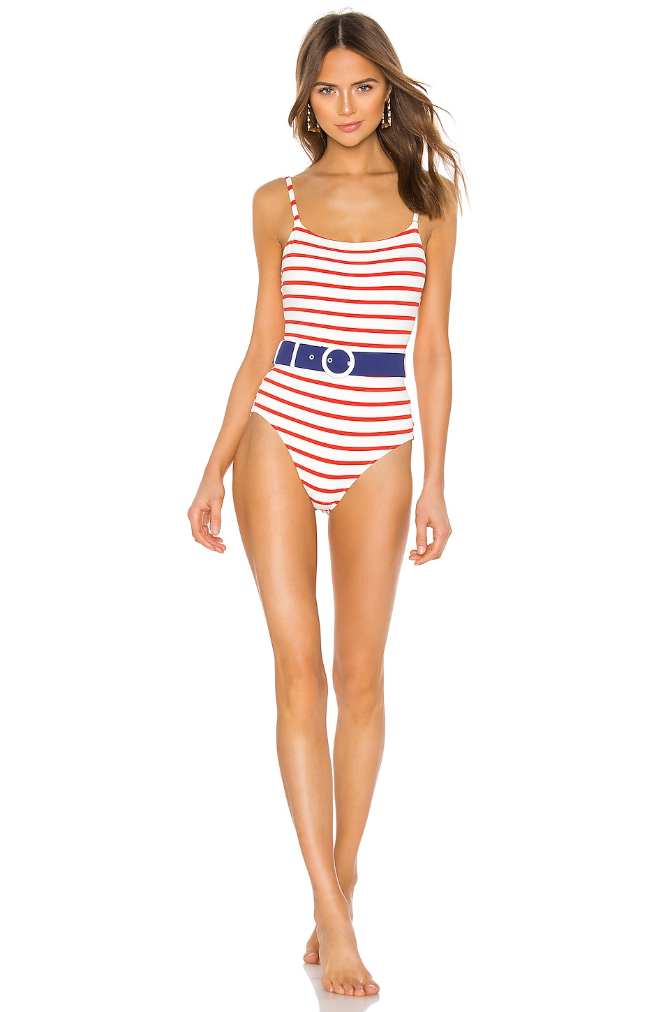 Solid & Striped Nina Belted One Piece in Red Breton