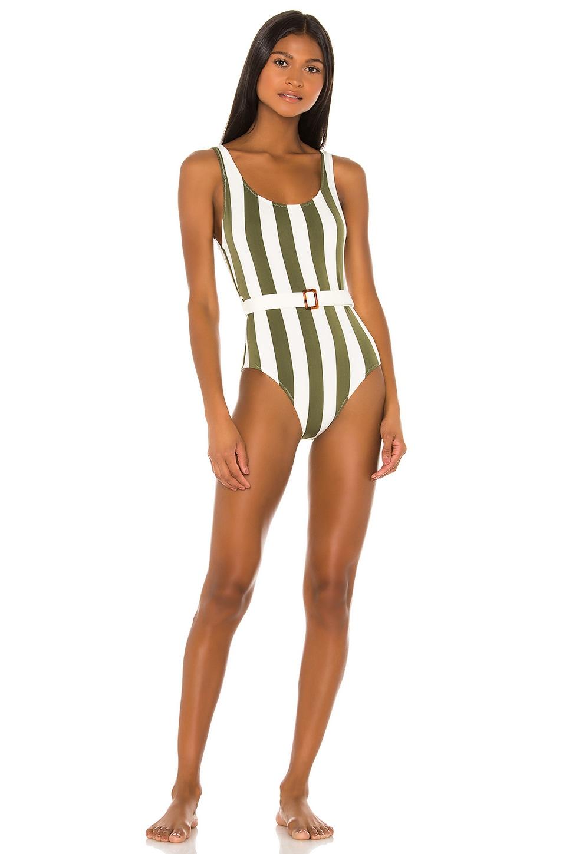 Solid & Striped Anne Marie Belt One Piece in Safari Stripe
