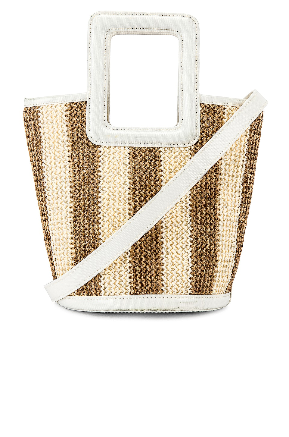 Solid & Striped Pookie Crochet Tote in Sand & White Stripe