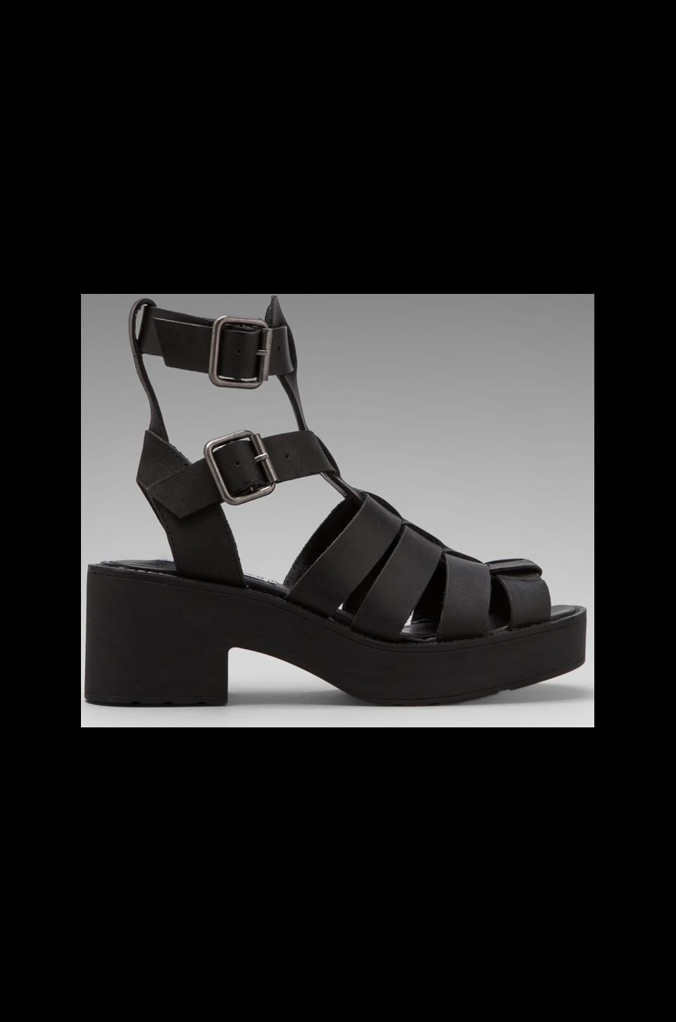 Steve Madden Schoolz Sandal in Black Leather