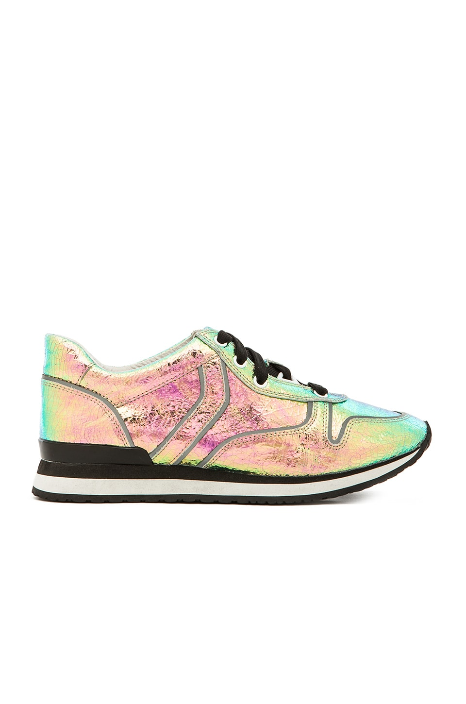 Steve Madden x Iggy Azalea Rundown Sneaker in Crinkled Metallic Multi