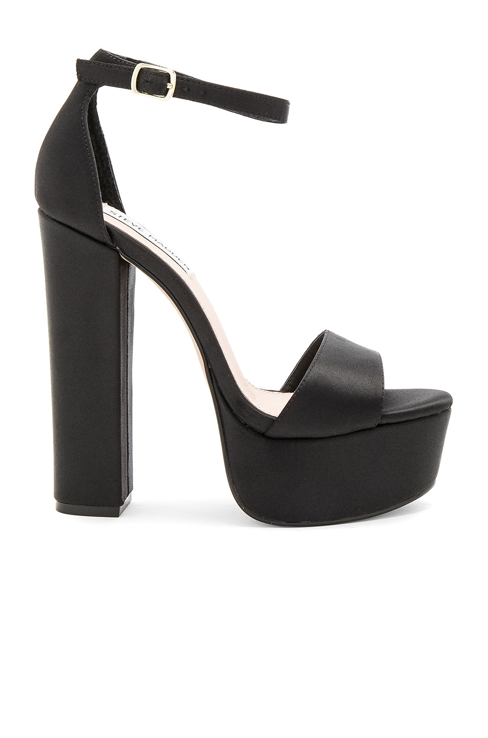 Steve Madden Gonzo Heel in Black Satin