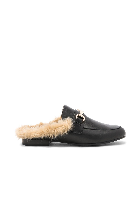 daf80ab4a33 Steve Madden Jill Faux Fur Slide in Black Leather | REVOLVE