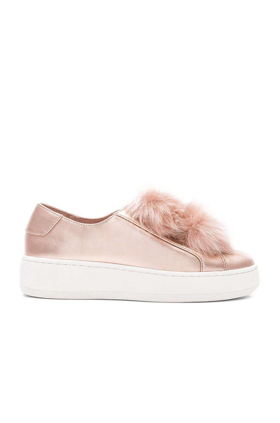 6a30a51a987 Steve Madden Breeze Faux Fur Sneaker in Rose Gold | REVOLVE