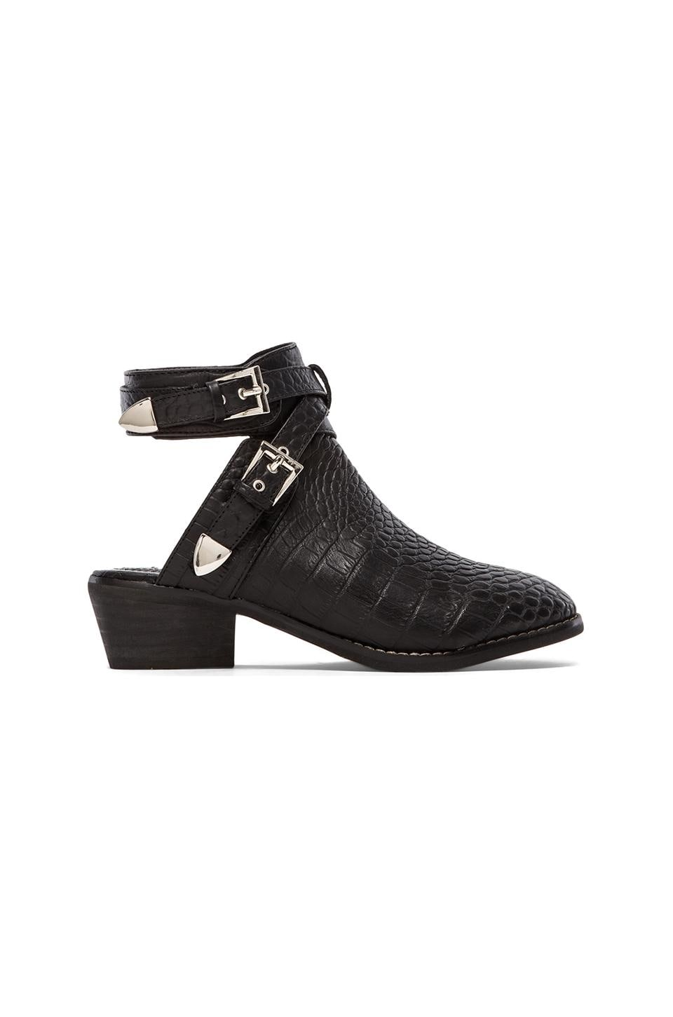 Steve Madden Moscow Bootie in Black Crocodile