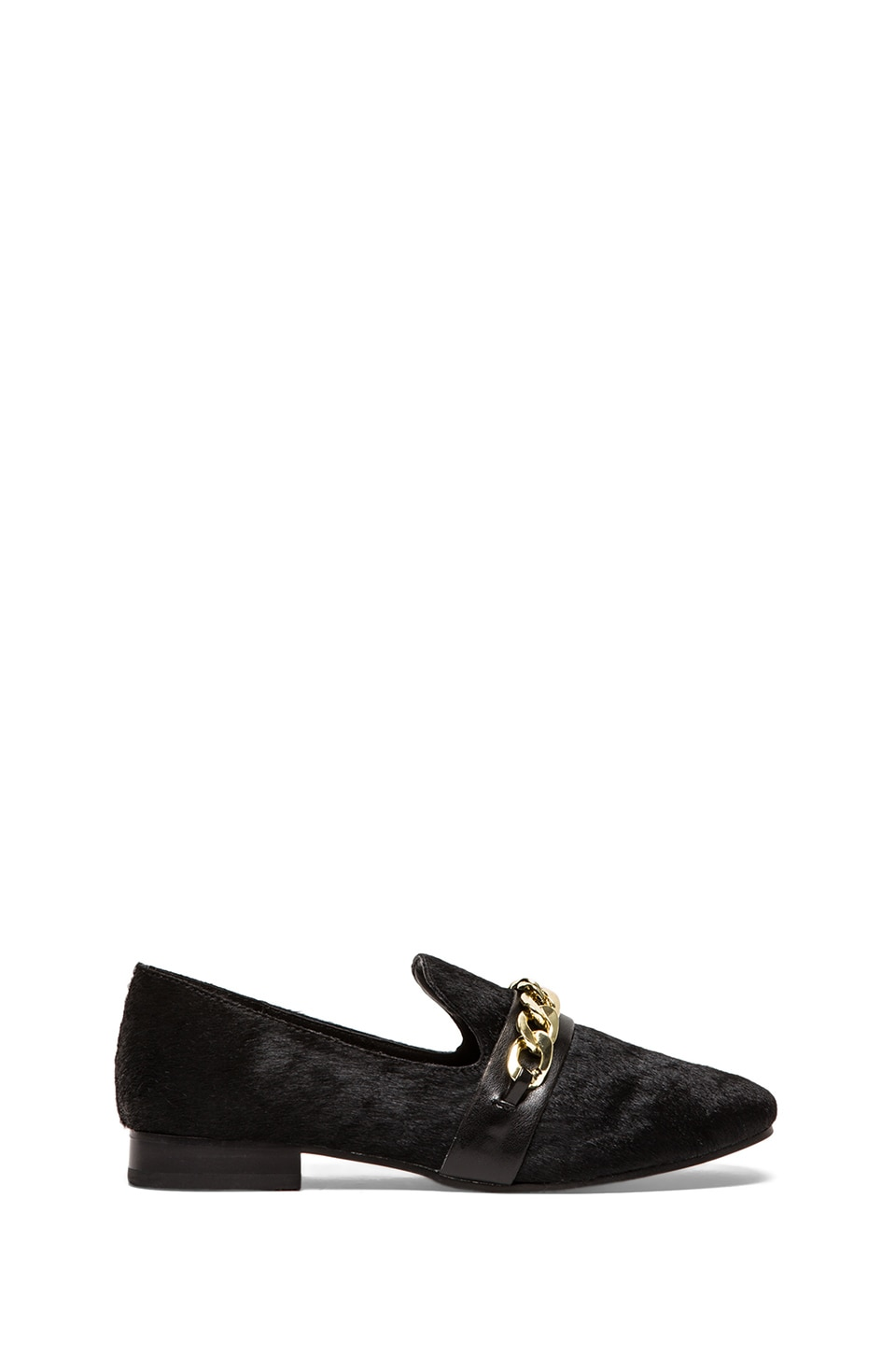 Steve Madden Changig Loafer with Calf Fur in Black