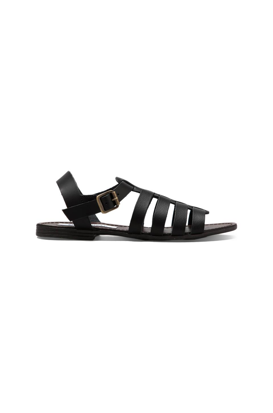 Steve Madden Alter Sandal in Black Leather