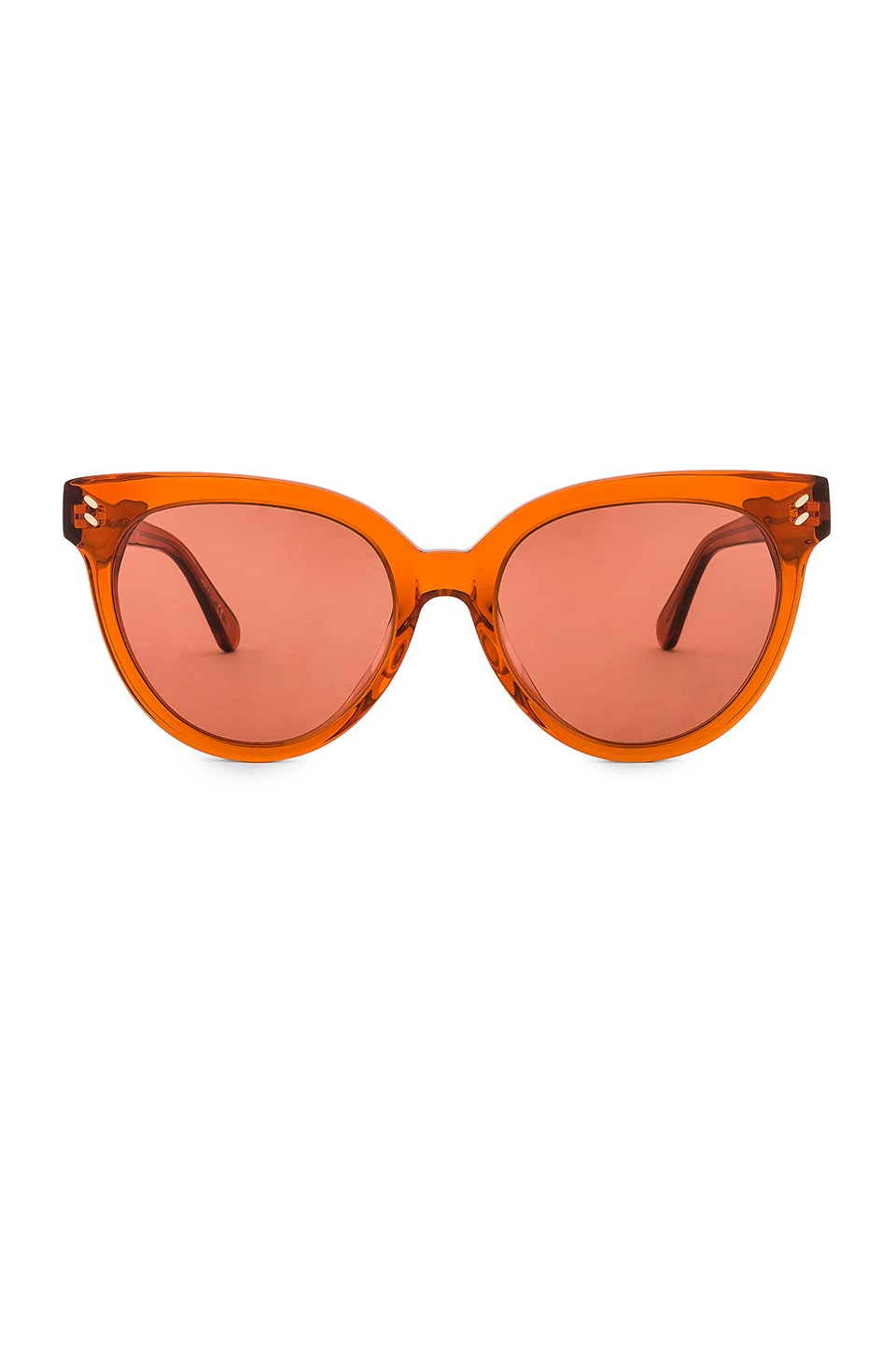 Stella McCartney Round Cat Eye Acetate in Shiny Transparent Dark Orange & Orange