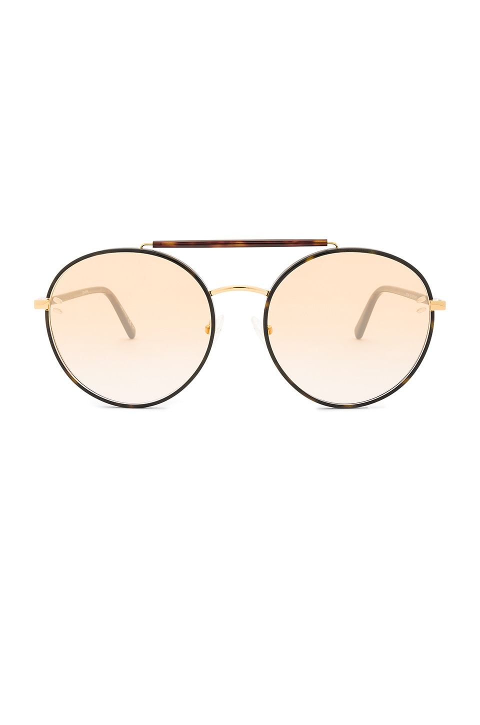 Stella McCartney Round Metal in Shiny Dark Havana & Gradient Orange