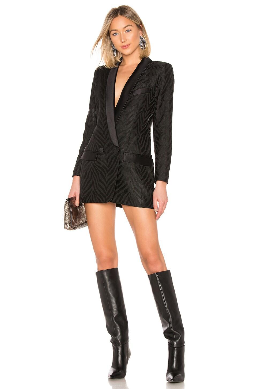 Smythe Tuxedo Blazer Dress in Black Zebra Jacquard