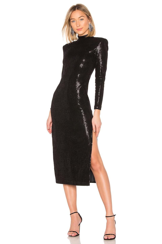 Smythe Knit Sequin Side Slit Dress in Black