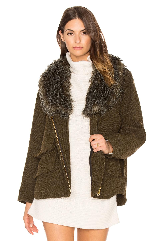 Smythe Detachable Faux Fur Collar Flak Jacket en Army