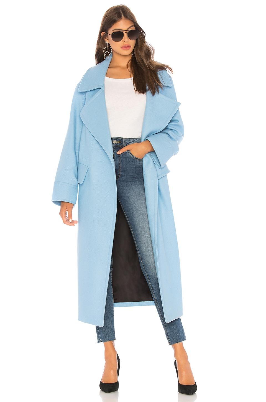SMYTHE Blanket Blue Wool-Blend Coat in Topaz