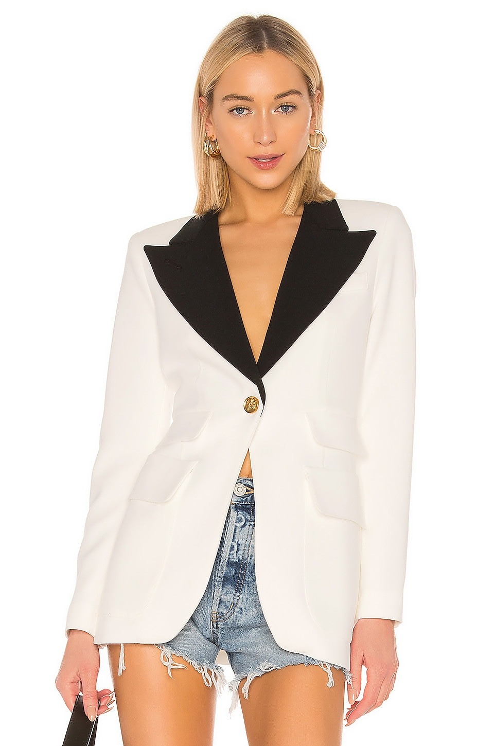 Smythe Blocked Birkin Blazer en White & Black
