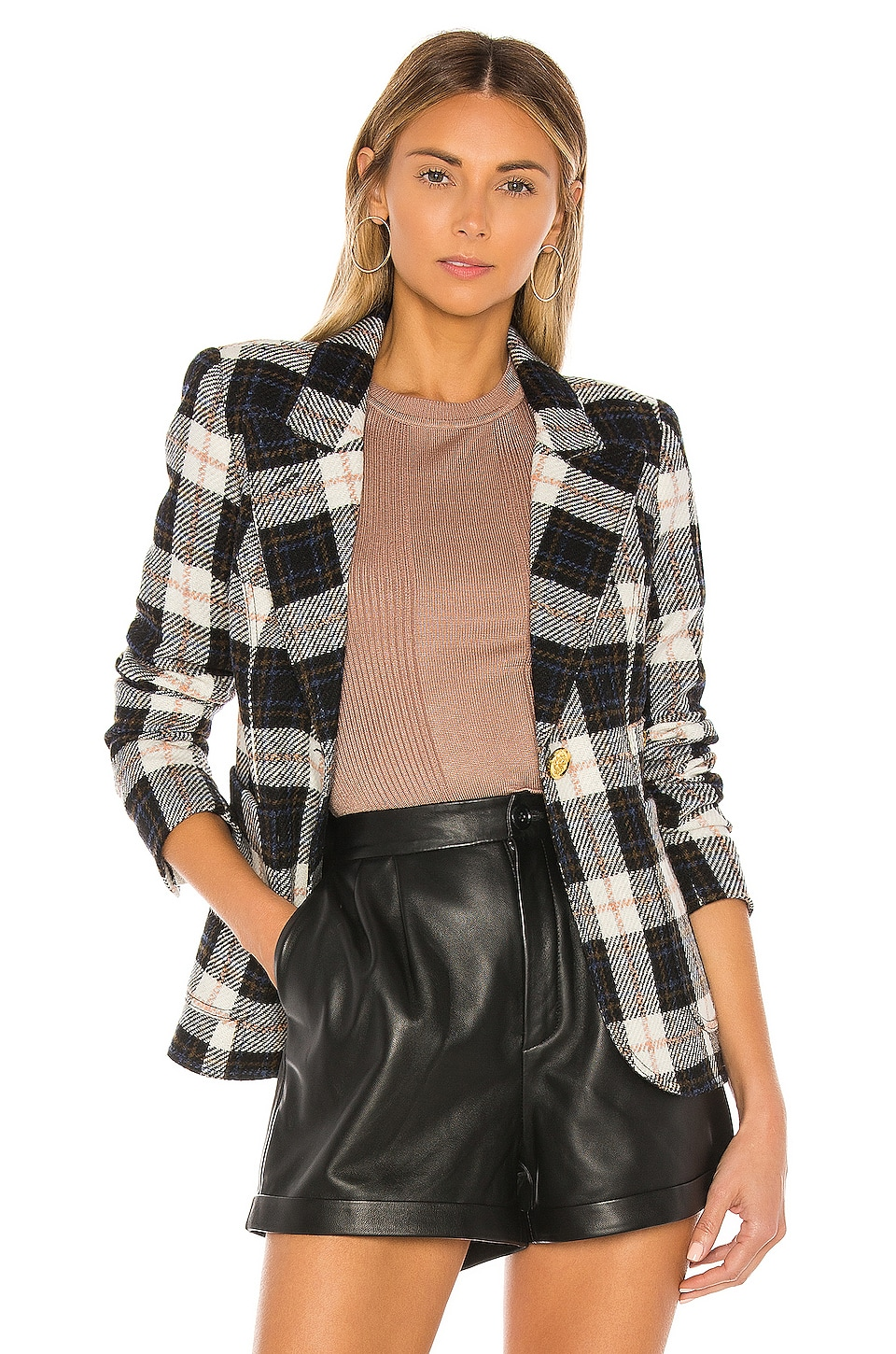 Smythe Patch Pocket Duchess Blazer in Black & Ivory Plaid