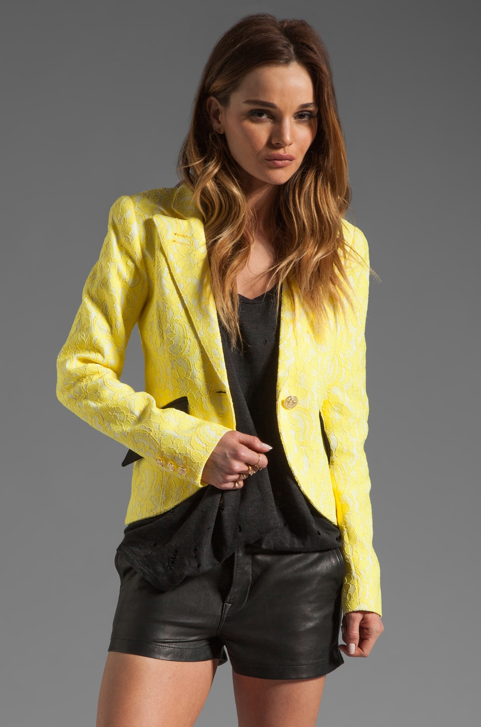 Smythe Lace Blazer in Lemon