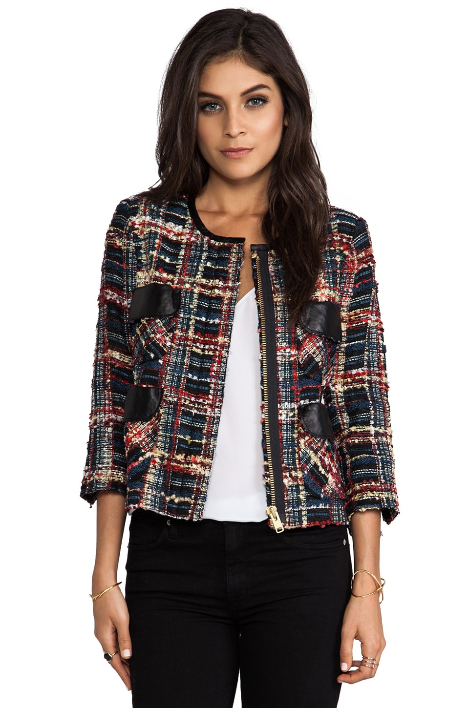 Smythe Boucle Jacket in Navy/Splice Plaid