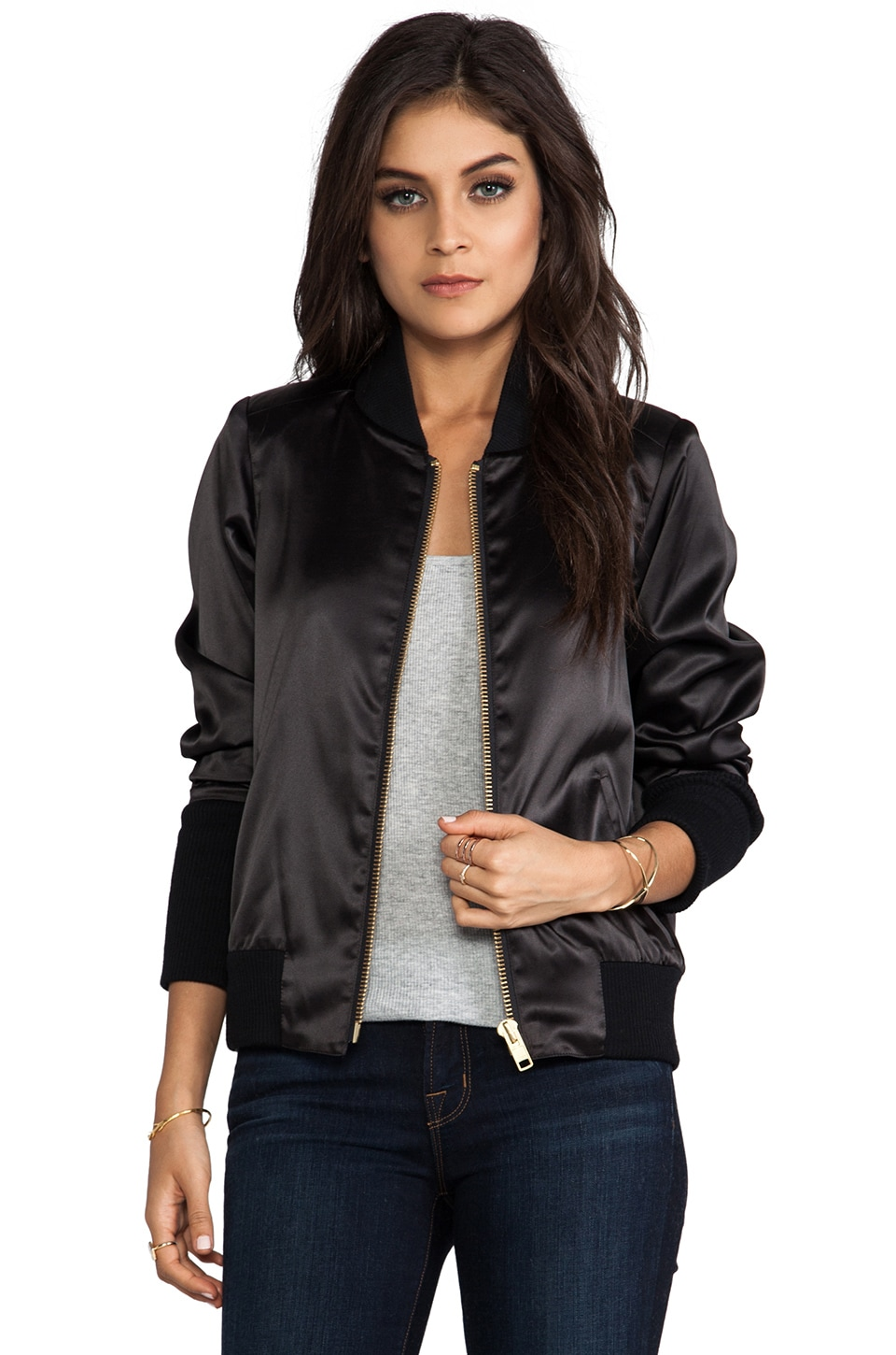 Smythe Satin Bomber in Black