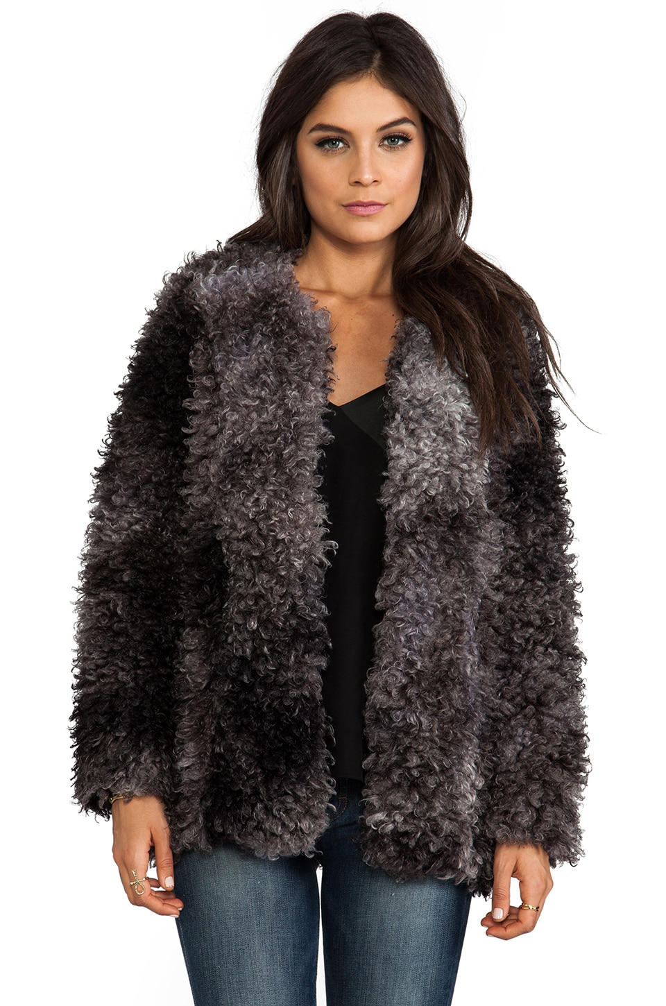 Smythe Chubby Faux Fur Jacket in Grey Melange
