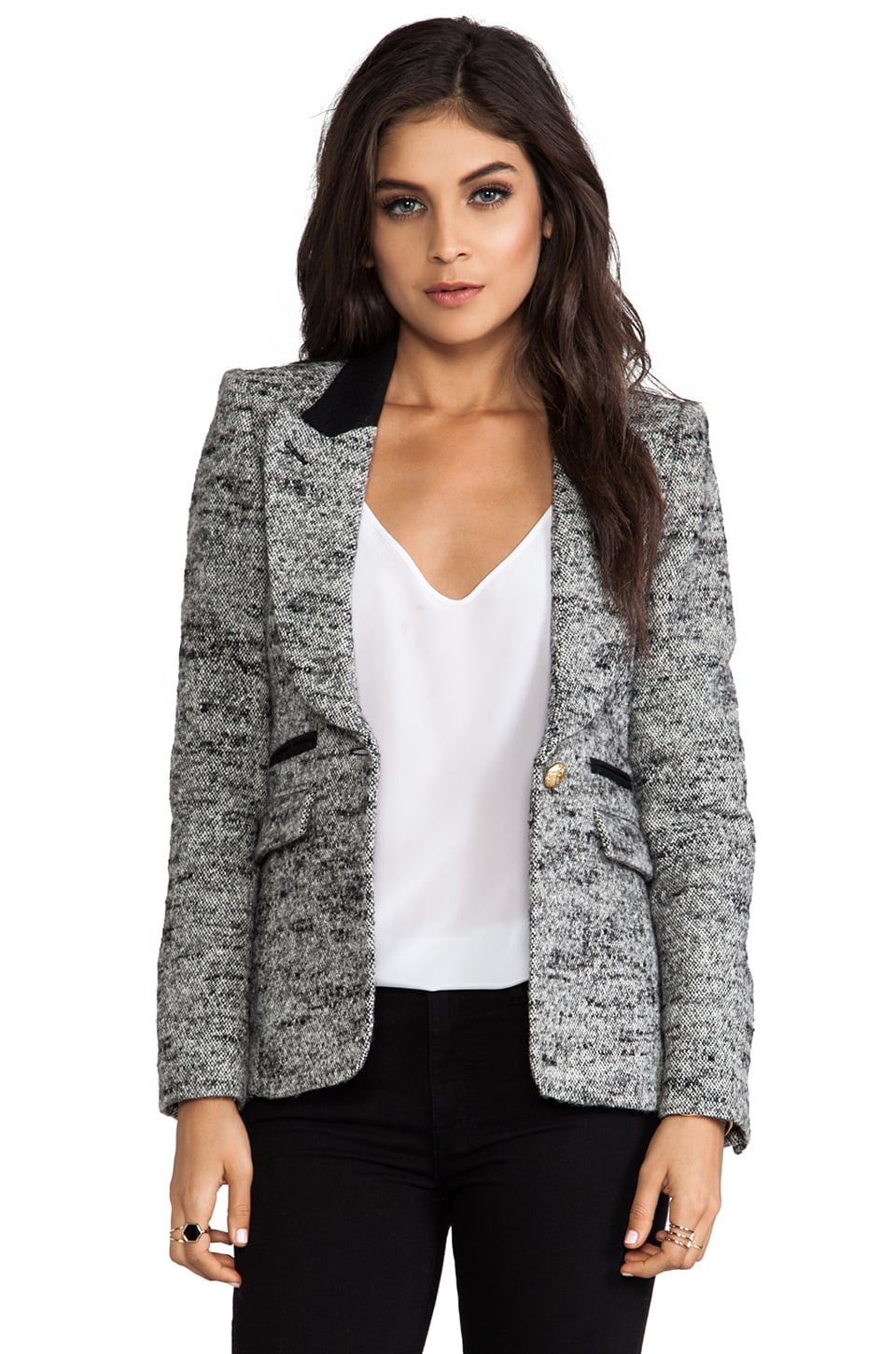 Smythe Peaked Lapel Blazer in Salt/Pepper Tweed