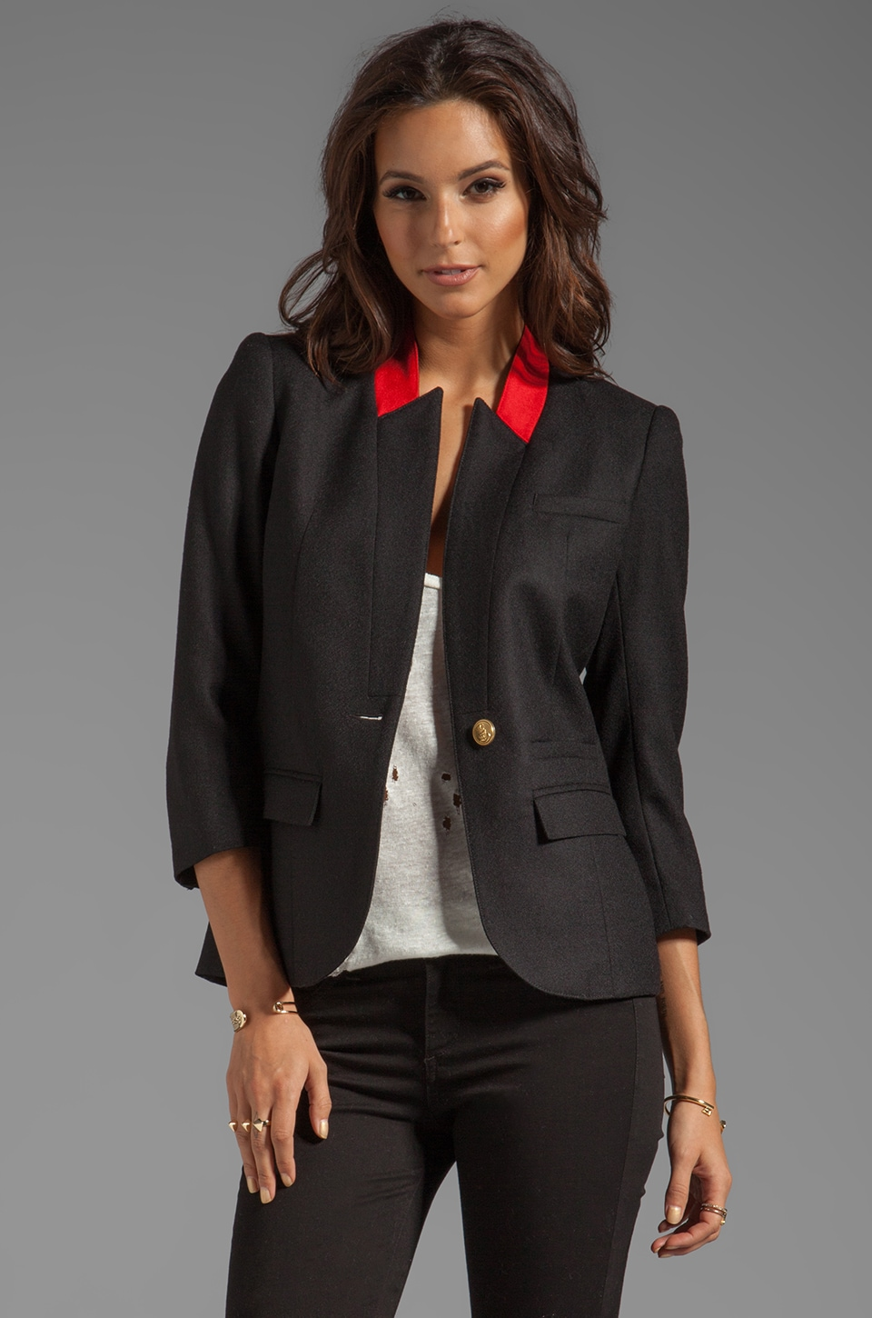Smythe Flat Lapel Blazer in Black/Poppy