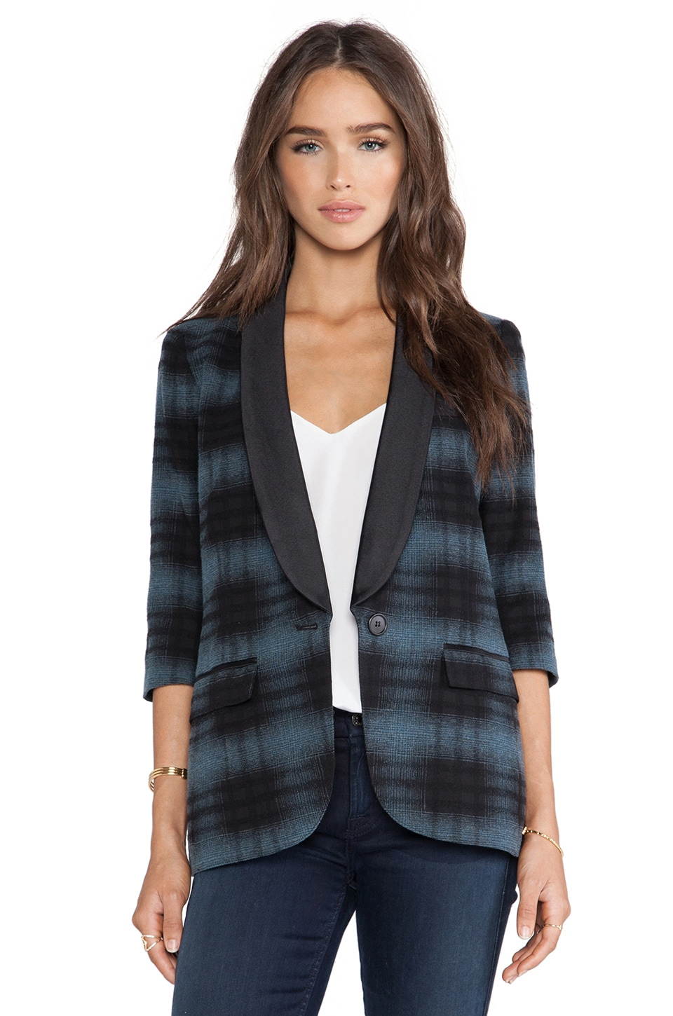 Smythe Smoking Jacket in Black & Blue Plaid