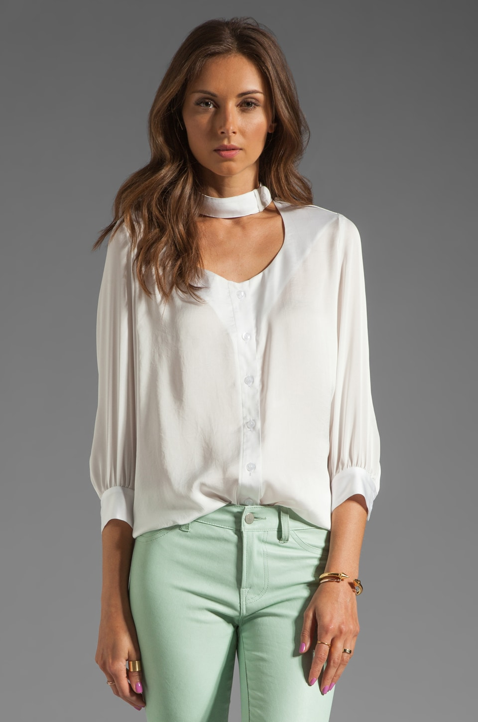 Smythe Choker Blouse in White