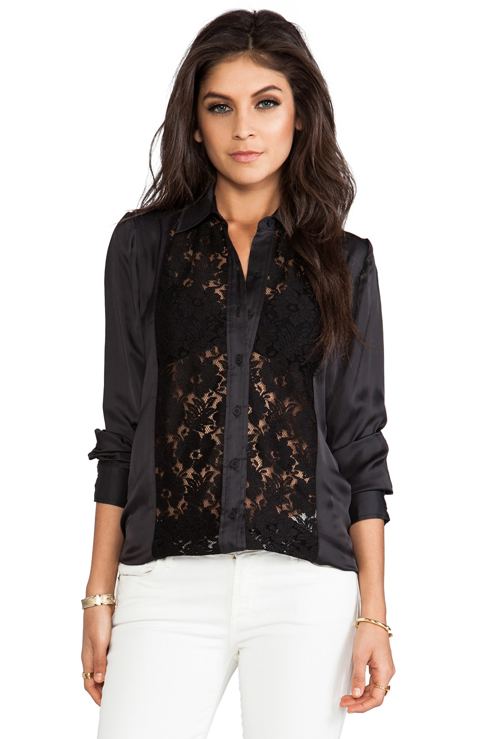 Smythe Lace Panel Shirt in Black