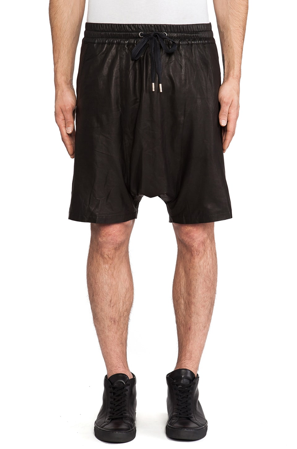 SKINGRAFT Leather Drop Crotch Sport Shorts in Black