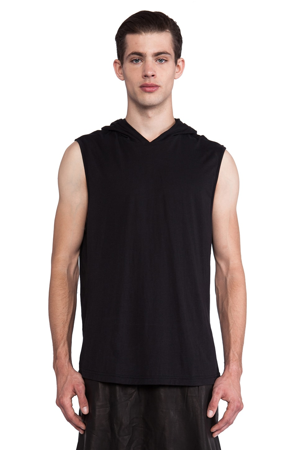 SKINGRAFT Sleeveless Hoodie T-Shirt in Black