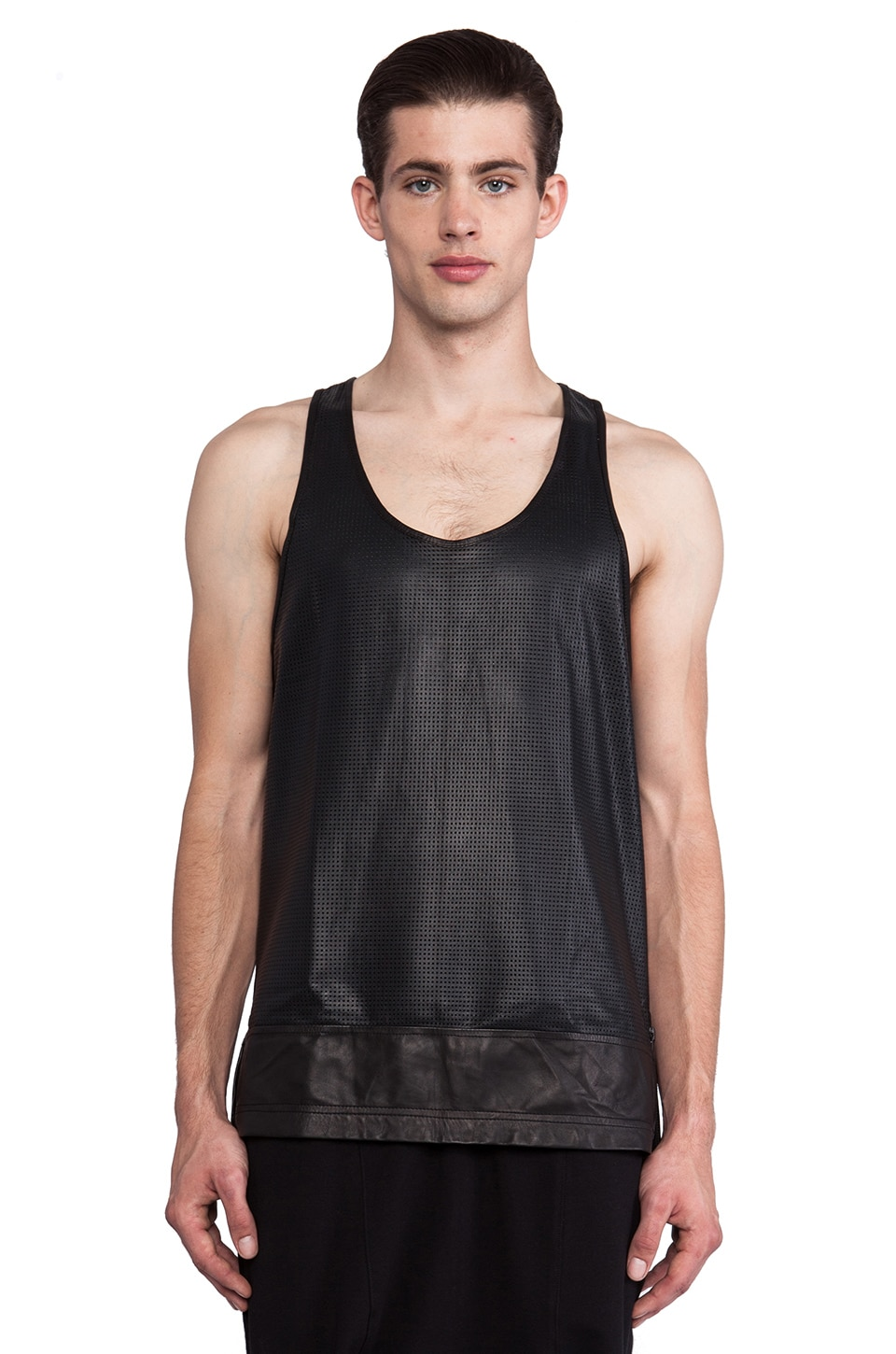 SKINGRAFT Leather Basketball Tank in Black